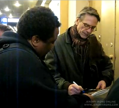 Jeremy Irons Signs Autographs Outside the Schoenfeld Theatre