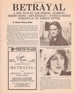 Click to view an advert of Jeremy Irons in Betrayal