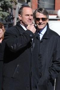 Jeremy Irons and Christopher Melon on the set of Law and Order: SVU - February 23, 2011