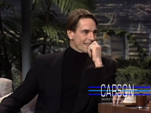 Video of Jeremy Irons on The Tonight Show with Johnny Carson - 1992