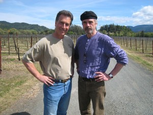 Jeremy Irons and Dave Vella at Chateau Montelena Winery in CA