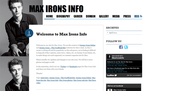 Max Irons Info