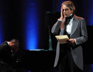 Jeremy Irons on stage as Chopin in 'Seduction, Smoke and Music'
