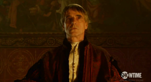 Screen captures of Jeremy Irons in a preview of season two of The Borgias